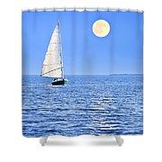 Sailboat At Full Moon Shower Curtain by Elena Elisseeva