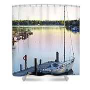 Sailboat At Sunrise Shower Curtain by Elena Elisseeva