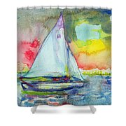 Sailboat Evening Wc On Paper Shower Curtain