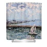 Sailboat In The Waukegan Harbor Shower Curtain