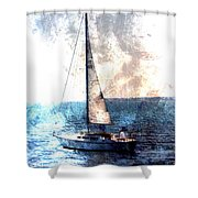 Sailboat Light W Metal Shower Curtain