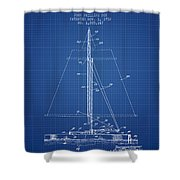 Sailboat Patent From 1932 - Blueprint Shower Curtain