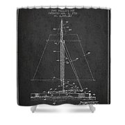 Sailboat Patent From 1932 - Dark Shower Curtain