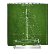 Sailboat Patent From 1932 - Green Shower Curtain