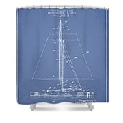 Sailboat Patent From 1932 - Light Blue Shower Curtain