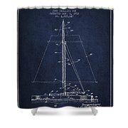 Sailboat Patent From 1932 - Navy Blue Shower Curtain