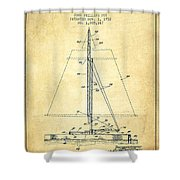 Sailboat Patent From 1932 - Vintage Shower Curtain