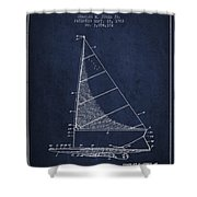 Sailboat Patent From 1962 - Navy Blue Shower Curtain