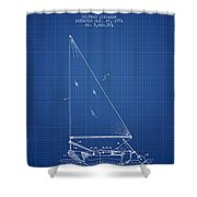Sailboat Patent From 1991- Blueprint Shower Curtain