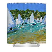 Sailboat Race Shower Curtain by Andrew Macara