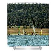 Sailboat Regatta Cascade Lake Shower Curtain