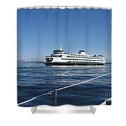 Sailboat Sees Ferryboat Shower Curtain