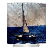 Sailboat Slow W Metal Shower Curtain