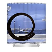 Sailboat Through Omphalos Sculpture Near Infrared Shower Curtain