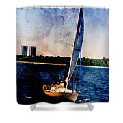 Sailboat Tilted Towers W Metal Shower Curtain