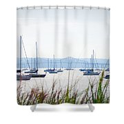 Sailboats At Rest Shower Curtain by Bill Cannon