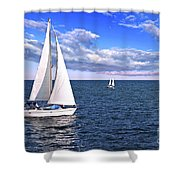 Sailboats At Sea Shower Curtain by Elena Elisseeva