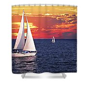 Sailboats At Sunset Shower Curtain by Elena Elisseeva