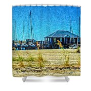 Sailboats Boat Harbor - Quiet Day At The Harbor Shower Curtain