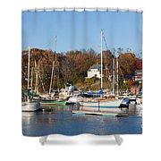 Sailboats In Camden Harbor I Shower Curtain