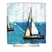 Sailboats In The Harbor Shower Curtain