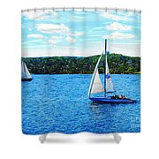 Sailboats In The Summer Shower Curtain