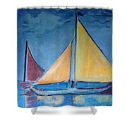 Sailboats With Red And Yellow Sails Shower Curtain