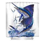 Sailfish Shower Curtain by Carey Chen