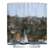 Sailing Along The Shore Shower Curtain