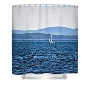 Sailing Amidst The Buoys Shower Curtain