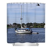 Sailing At Ballard Park On The Eau Gallie River In Melbourne Flo Shower Curtain