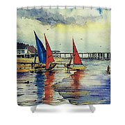 Sailing At Penarth Shower Curtain