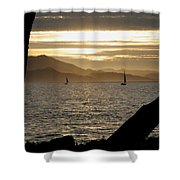Sailing At Sunset On The Bay Shower Curtain