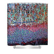 Sailing Among The Flowers Shower Curtain