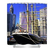 Sailing Boat Anchored In South Street Seaport 1984 Shower Curtain