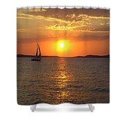 Sailing Boat In Ibiza Sunset Shower Curtain