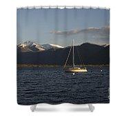 Sailing Boat On An Alpine Lake Shower Curtain