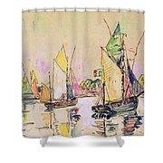 Sailing Boats At Les Sables D Olonne  Shower Curtain