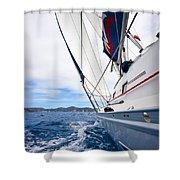 Sailing Bvi Shower Curtain by Adam Romanowicz