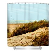 Sailing By Sand Dune Shower Curtain