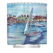 Sailing By Shoreline Village Shower Curtain