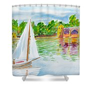 Sailing By The Bridge Shower Curtain