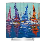 Sailing By The Lighthouse Shower Curtain