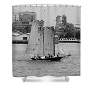 Sailing Free In Black And White Shower Curtain