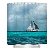 Sailing In Blue Belize Shower Curtain