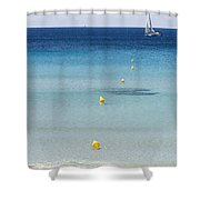 Son Bou Beach In South Coast Of Menorca Is A Turquoise Treasure - Sailing In Blue Shower Curtain