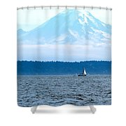 Sailing In Mt. Rainier's Shadow Shower Curtain