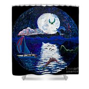 Sailing In The Moonlight Shower Curtain