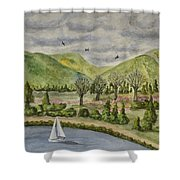 Sailing On A Cloudy Day Shower Curtain