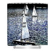 Sailing On Blue Shower Curtain